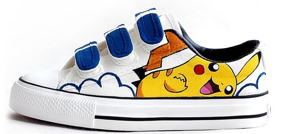 Hand Painting Pikachu Shoes Pikachu Hand Painted Canvas Shoes-2