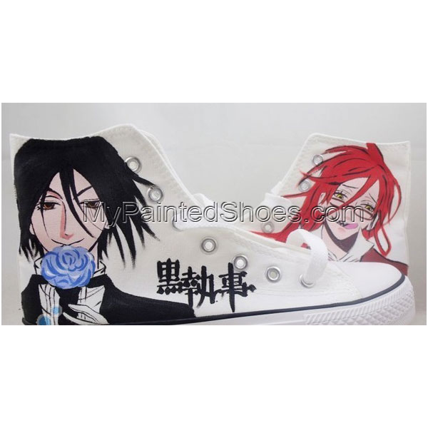 Black Butler Hand Painted High Top Cartoon and Anime Canvas Shoe