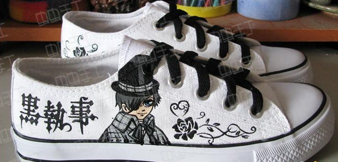 Black Butler Hand Painted Low Top Anime Canvas Shoes-1