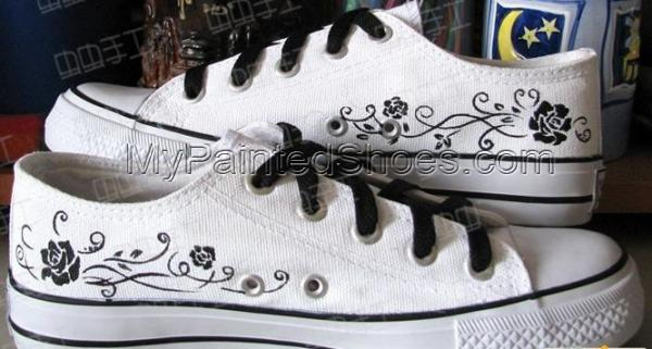 Black Butler Hand Painted Low Top Anime Canvas Shoes-3