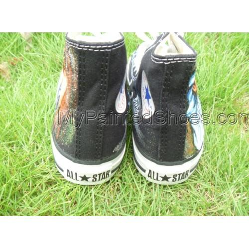 Justin Biber hand painted shoes high top sneaker Canvas Shoes-3
