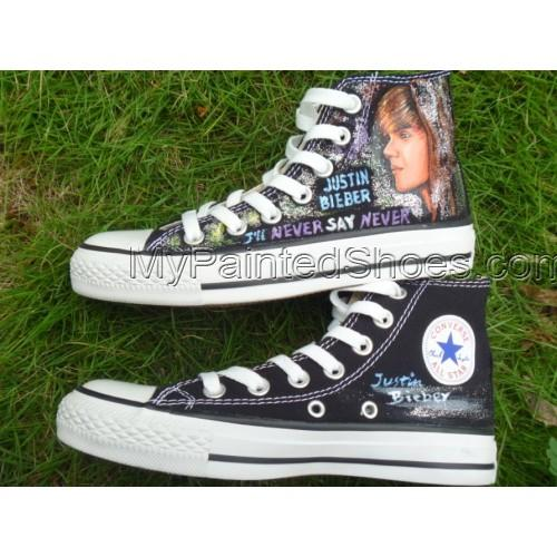 Justin Biber hand painted shoes high top sneaker Canvas Shoes-4