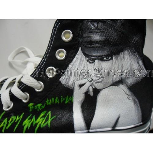 Lady Gaga Born Shoes Painted Lady Gaga Born Canvas Shoes-2