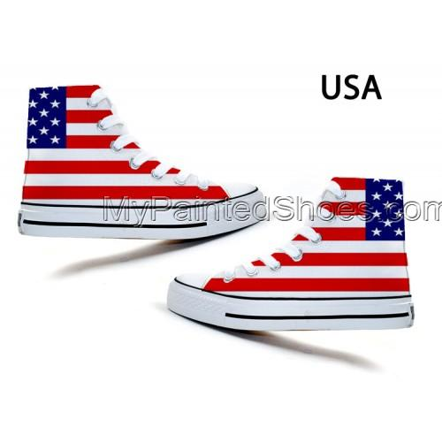 fashion Union Jack Stars and Stripes Stylish Doodle Canvas Shoes-4