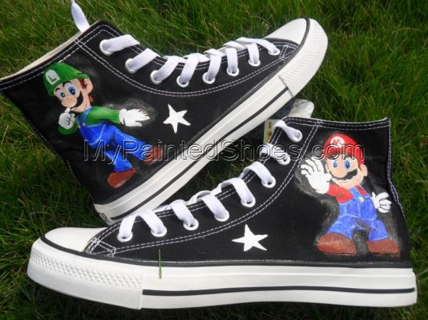 Super Mario Painted sneaker canvas shoes-1