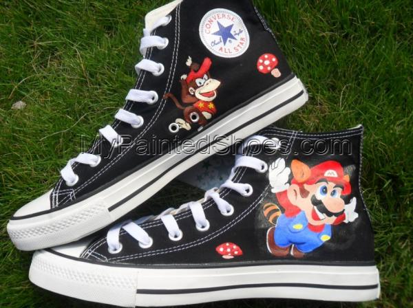 Super Mario Painted sneaker canvas shoes-3