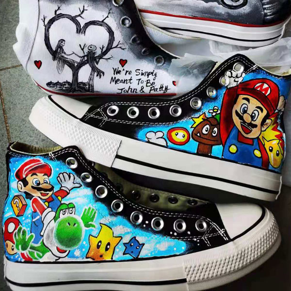 Super Mario Painted sneaker canvas shoes