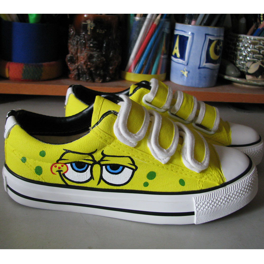 Spongebob Shoes Low-top Painted Canvas Shoes-1