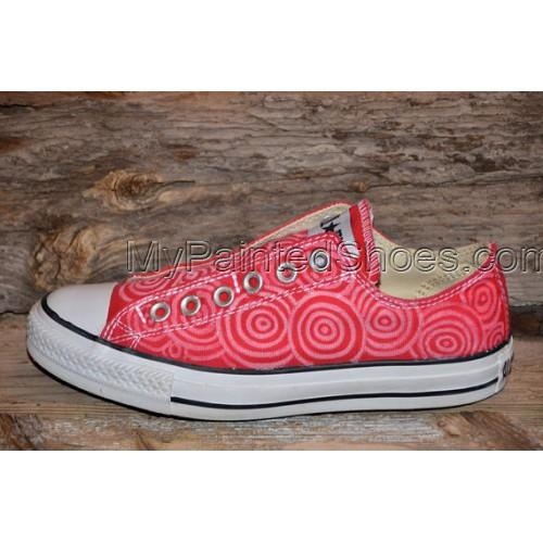 Hand painted Circles on Red Canvas Shoes-1