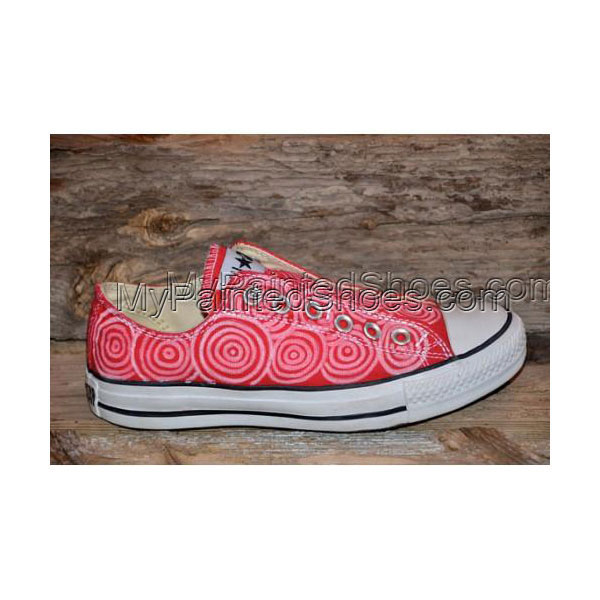 Hand painted Circles on Red Canvas Shoes