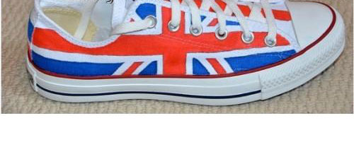 Hand Painted Union Jack Low-top Painted Canvas Shoes-1