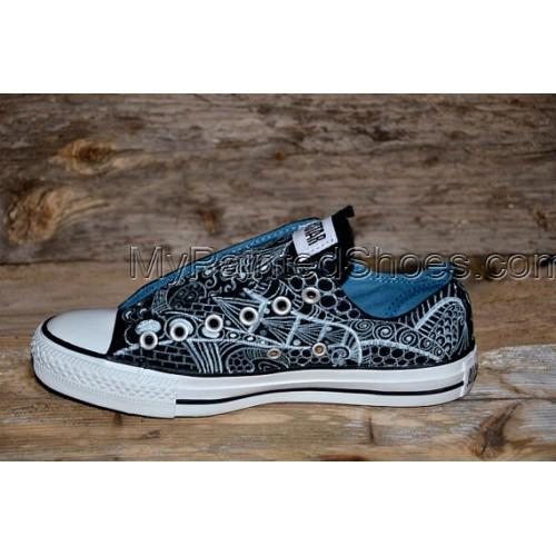 Hand-painted Zentangle Painted Canvas Shoes-2