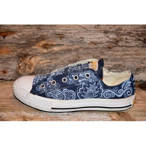 RESERVED for STEVE C Floral/Paisley Painted Canvas Shoes-1