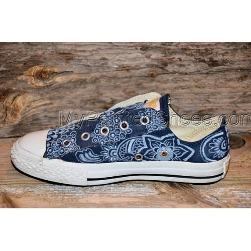 RESERVED for STEVE C Floral/Paisley Painted Canvas Shoes-2