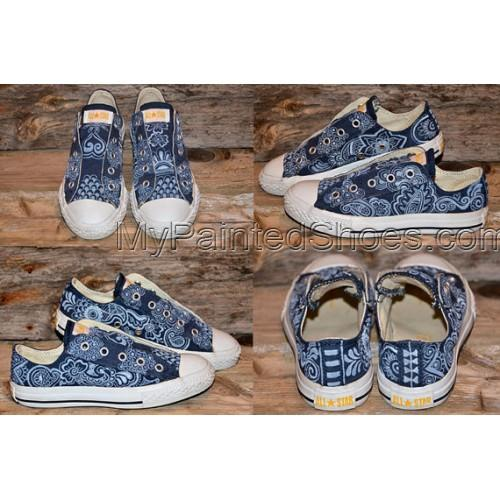 RESERVED for STEVE C Floral/Paisley Painted Canvas Shoes-3