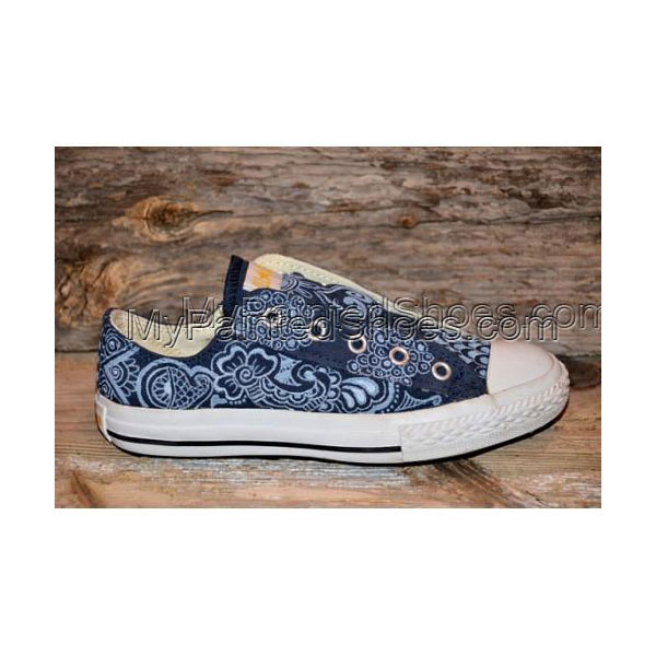 RESERVED for STEVE C Floral/Paisley Painted Canvas Shoes
