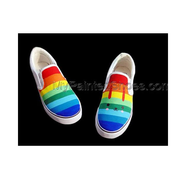 Rainbow Slip-on Painted Canvas Shoes-1