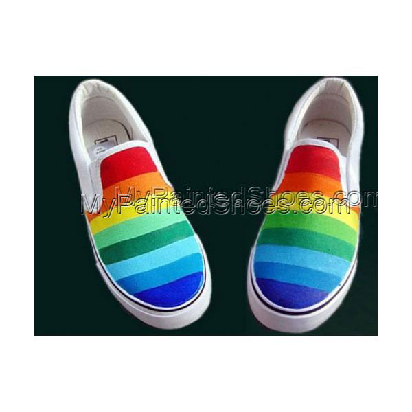 Rainbow Slip-on Painted Canvas Shoes