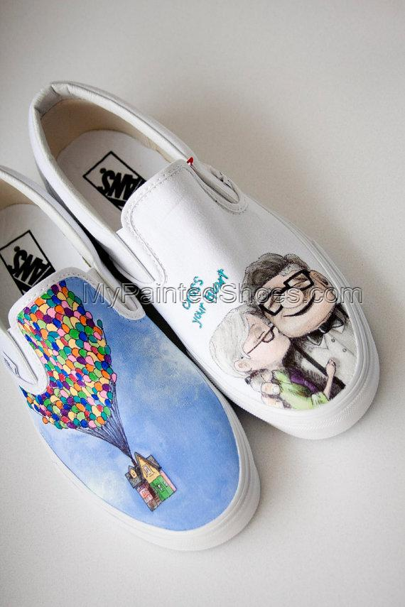 Custom Painted Shoes Up Wedding Theme- Reserved for Megan-1