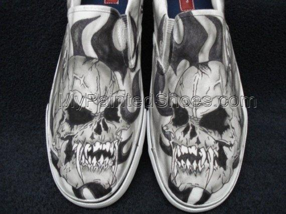 Skulls with Fangs Custom Designed Tattoo Inspired Shoes-1
