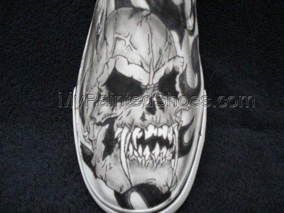 Skulls with Fangs Custom Designed Tattoo Inspired Shoes-2