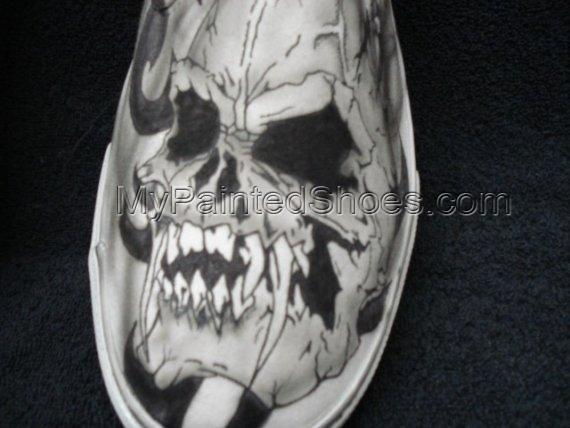 Skulls with Fangs Custom Designed Tattoo Inspired Shoes-3