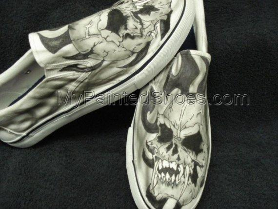 Skulls with Fangs Custom Designed Tattoo Inspired Shoes-4