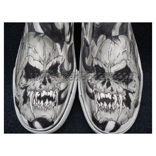Skulls with Fangs Custom Designed Tattoo Inspired Shoes