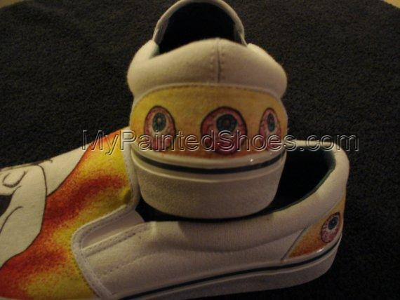 Colored Flaming Skulls with eyeballs Tattoo Inspired Custom Desi-3