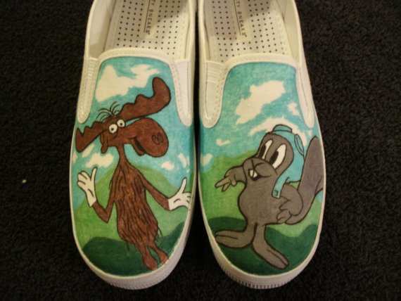 Rocky and Bullwinkle Custom Designed Shoes-1
