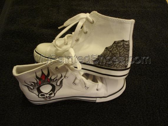 Skulls and Spiders Tattoo Inspired Custom Designed Shoes-3
