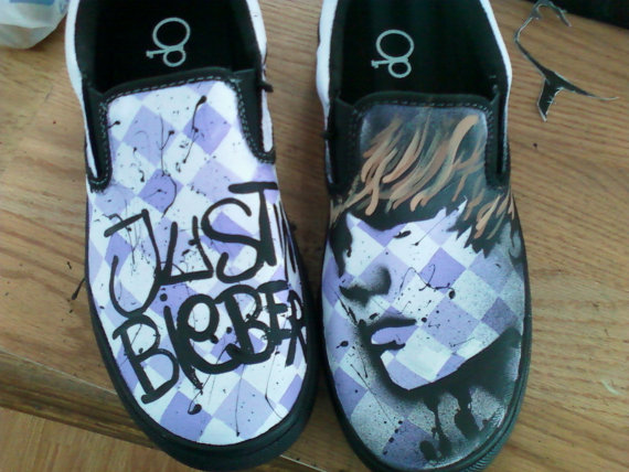 Justin Bieber Custom Painted Canvas Shoes-1