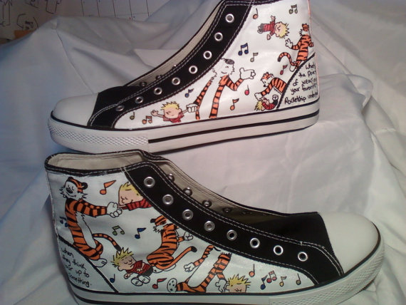 custom canvas High top shoes Calvin and Hobbes 'Dance Machine' p-1