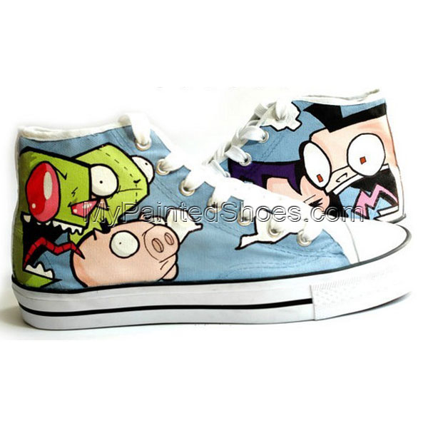 Hand Painted Shoes Custom Space Invader Zim High Top Sneakers fo