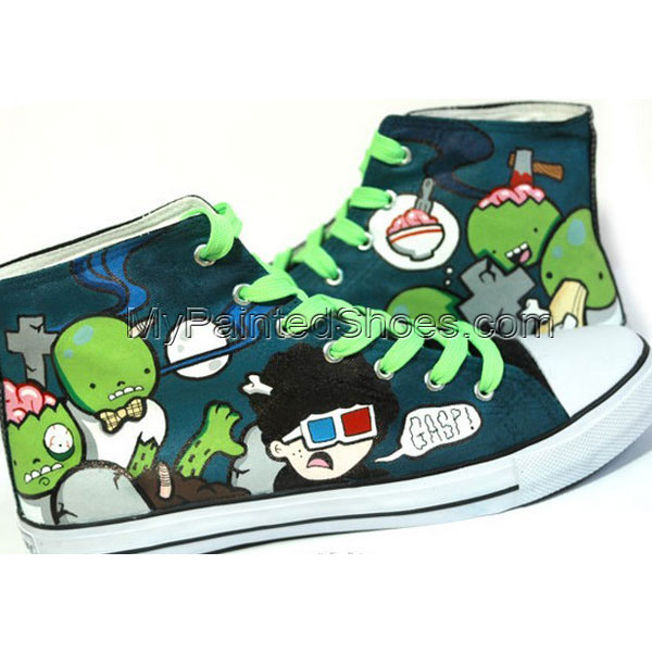 Zombie Brunch Hand Painted Sneakers for Men and Women