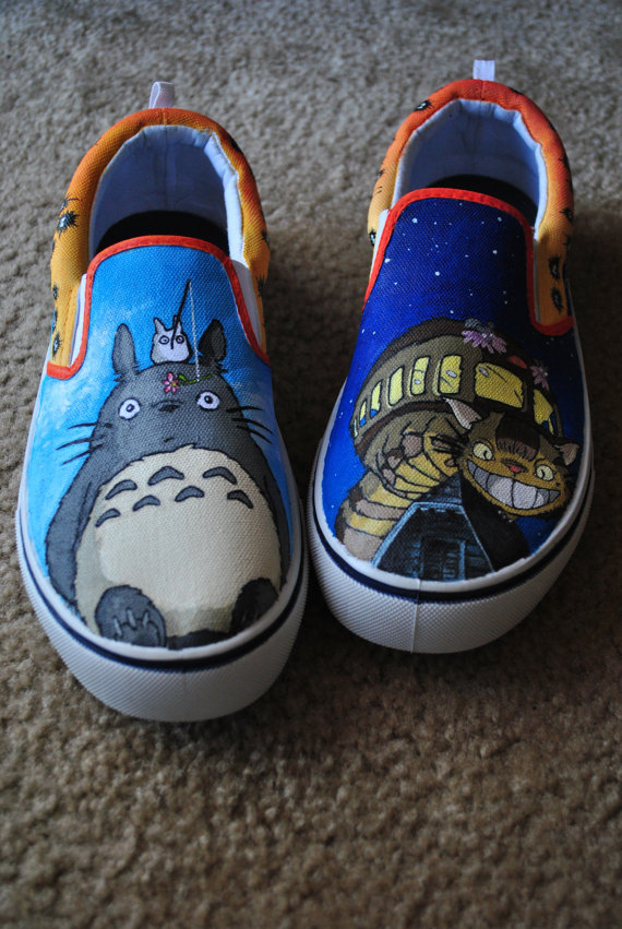 My Neighbor Totoro Slip-on Painted Canvas Shoes-1