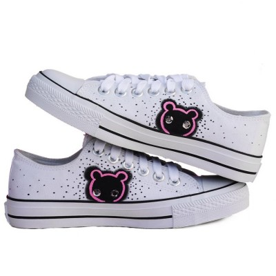 Anime Sneaker Minnie Mouse White Black Hand Painted Canvas Women-1