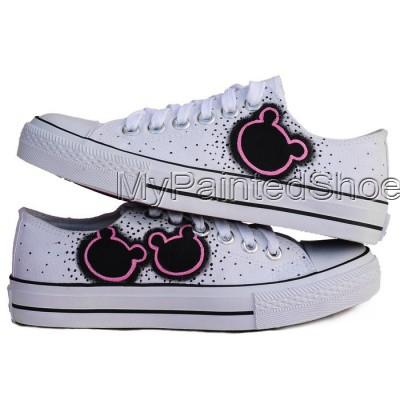 Anime Sneaker Minnie Mouse White Black Hand Painted Canvas Women-3