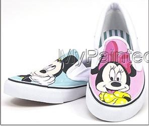 Mickey and Minnie Pink Blue Hand Painted Canvas Sneaker-3