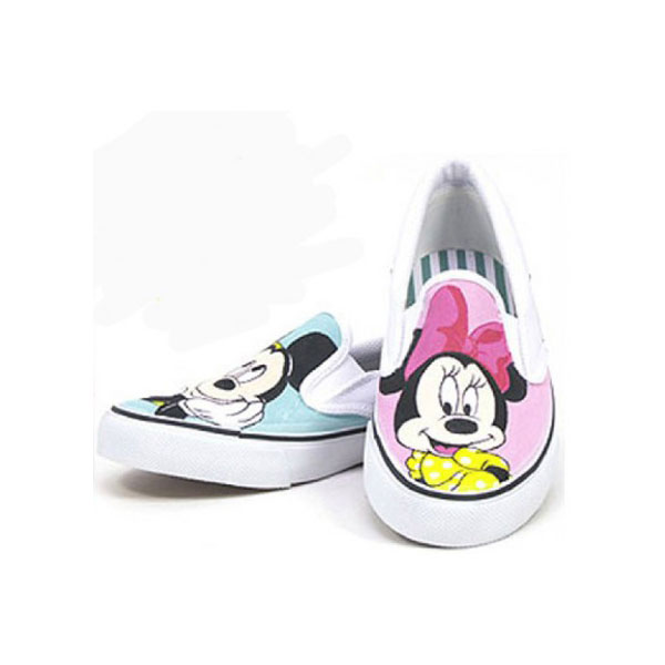 Mickey and Minnie Pink Blue Hand Painted Canvas Sneaker