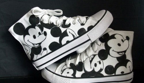 High Top Mickey Mouse White Black Hand Painted Canvas Sneaker-1