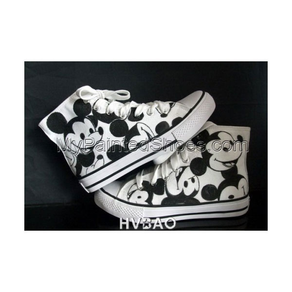 High Top Mickey Mouse White Black Hand Painted Canvas Sneaker