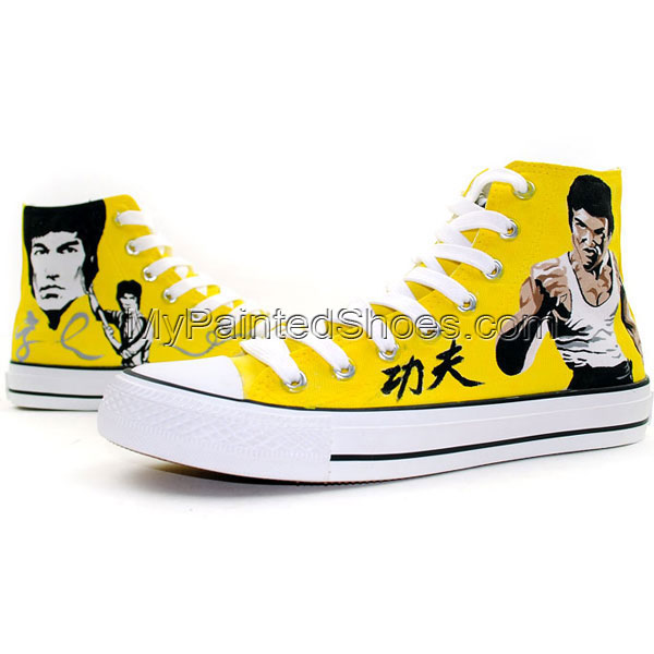 Bruce Lee Custom Hand Painted Canvas Sneaker Painted Shoes