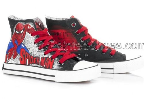 High Top SpiderMan Painted Canvas Women/Men Shoes-4