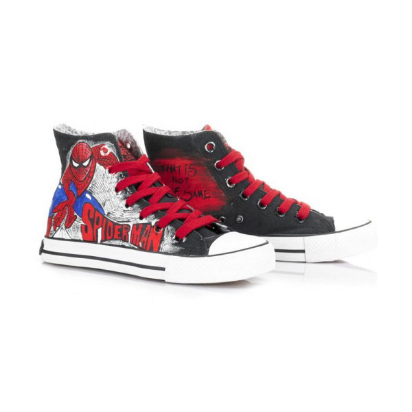 9e5a0bdaeb08ea High Top SpiderMan Painted Canvas Women Men Shoes