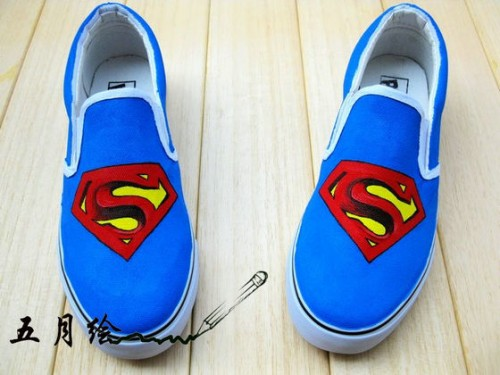 Superman Blue Hand Painted Canvas Sneaker Women Shoes-1
