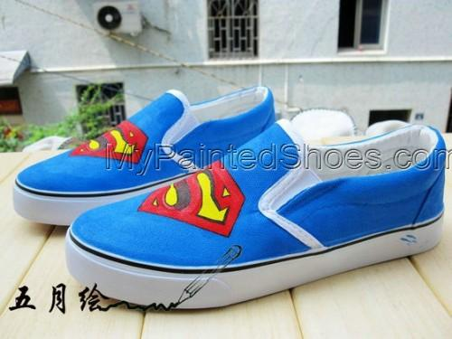 Superman Blue Hand Painted Canvas Sneaker Women Shoes-2