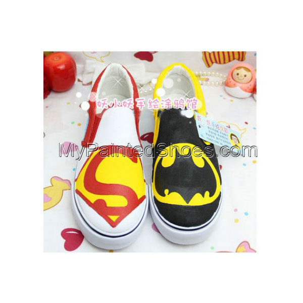Superman and Batman Hand Painted Canvas Hand Painted Canvas Wome
