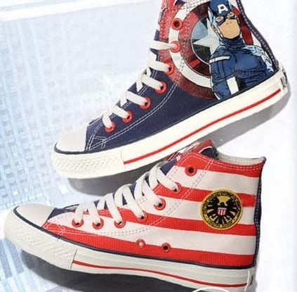 The Avengers Captain America Canvas Sneakers Painted Shoes for M-1