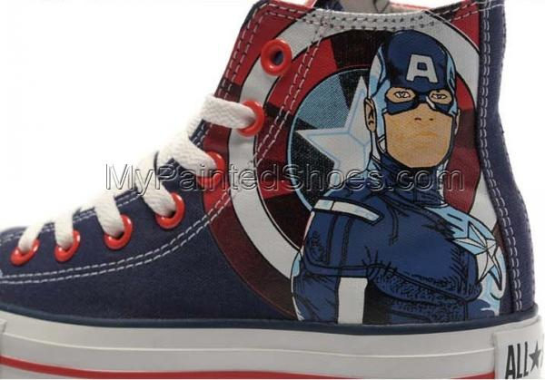 The Avengers Captain America Canvas Sneakers Painted Shoes for M-4